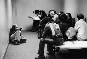 The cast during a pause in the studio (Mako on floor - Yuki Shimoda in light sh)