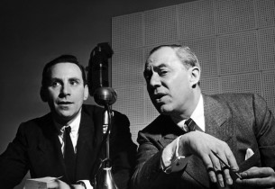 In the control booth, producer Goddard Lieberson and composer Richard Rodgers