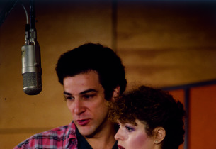 Mandy Patinkin and Bernadette Peters in the recording studio