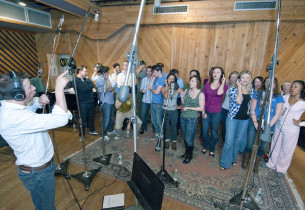 Conductor Phil Reno and cast in studio (Photo: Jimmy Asnes)