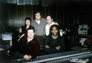 Lynn Ahrens, show producer Garth Drabinsky, Stephen Flaherty; (front row): recor