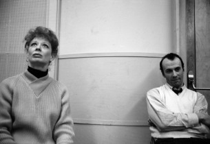 Gwen Verdon and Richard Kiley listening to a playback