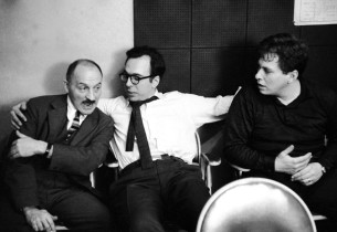 During a break in Regina recording session, composer Marc Blitzstein, left, talk