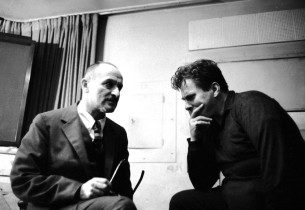 Composer Marc Blitzstein, left, talks with conductor Samuel Krachmalnick during