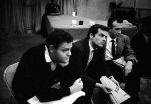 Listening to playback during the Regina recording session – from left, George S.