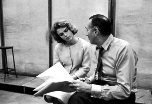 Lee Remick being prompted by Goddard Lieberson
