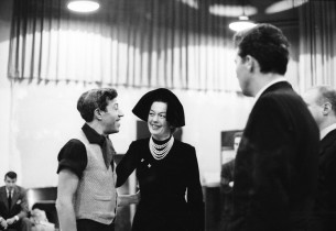 Book and lyric co-writer Adolph Green, Rosalind Russell and Sydney Chaplin