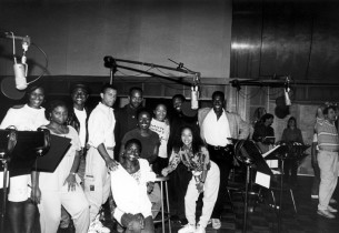 The cast in the recording studio (with record producer Jay David Saks, far right