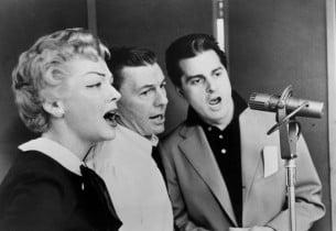 Vivian Blaine, David Wayne and Johnny Desmond