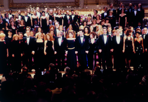 The cast on stage, with Stephen Sondheim