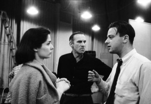 Carol Lawrence, record producer Goddard Lieberson, and lyricist Stephen Sondheim