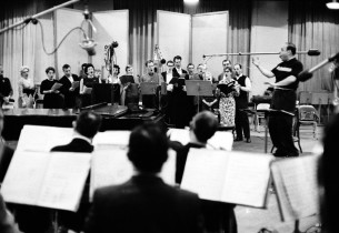 The cast of Song of Norway in the studio, under the direction of conductor Lehma