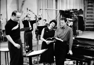 "Brenda Lewis (The Countess) and John Reardon (Grieg) recording the song ""Three L"
