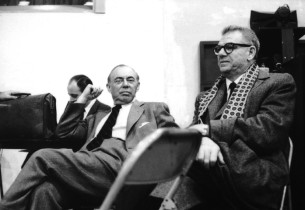 Richard Rodgers, left, and Oscar Hammerstein II during the recording session for