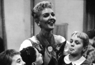 Mary Martin and the children in the recording studio.