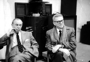 Richard Rodgers, left, and Oscar Hammerstein II during the recording session for The Sound of Music on November 22, 1959