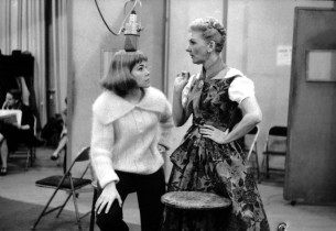 "Lauri Peters, left, and Mary Martin take a break during the recording of ""Sixtee"