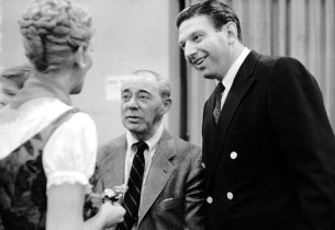 Mary Martin, left, and Theodore Bikel, right, with Richard Rodgers during a brea