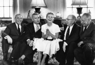 Mary Martin, flanked by her Sound of Music authors. From left: Richard Rodgers,