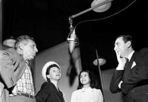 Ezio Pinza, Mary Martin, Barbara Luna and record producer Goddard Lieberson