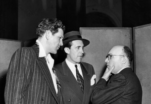 Kurt Weill (on the right) and cast members