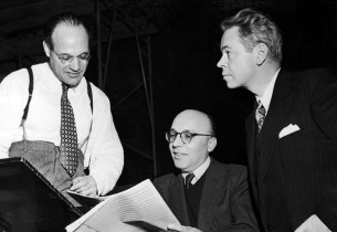 Musical director Maurice Abravanel, composer Kurt Weill, and [?]