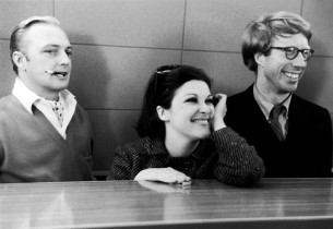 In the studio control room, Jack Cassidy, Linda Lavin and Michael O'Sullivan lis