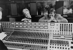 Angela Lansbury and Len Cariou listening to playback