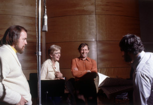 Music director Paul Gemignani, Angela Lnasbury, Len Cariou and Stephen Sondheim