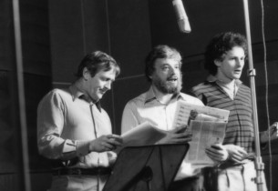 Len Cariou, Stephen Sondheim and Victor Garber