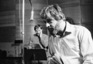 Stephen Sondheim, with Len Cariou in the background.