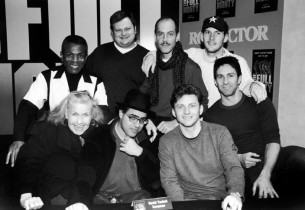 """l. to r. (front row): Kathleen Freeman, composer David Yazbek, Jason Danieley,"