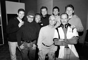 l. to r.: Patrick Wilson, composer David Yazbek, André De Shields, John Ellison