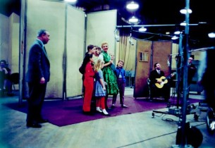 Composer Richard Rodgers, Mary Martin and the kids listen to Theodore Bikel play