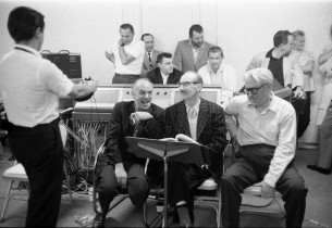 Seated: Martyn Green, Groucho Marx, Donald Voorhees.  In the back: Goddard Liebe