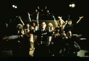 """Urinetown"" (top row, from l. to r.): David Beach, John Deyle, Daniel Marcus; (b"