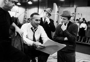 Lehman Engel, Goddard Lieberson, book writer Abe Burrows, and Steve Lawrence