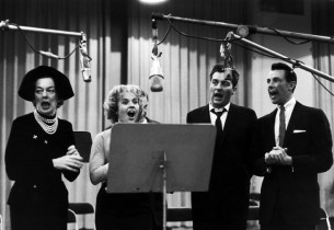 Rosalind Russell, Jacquelyn McKeever, Sydney Chaplin and Cris Alexander during t