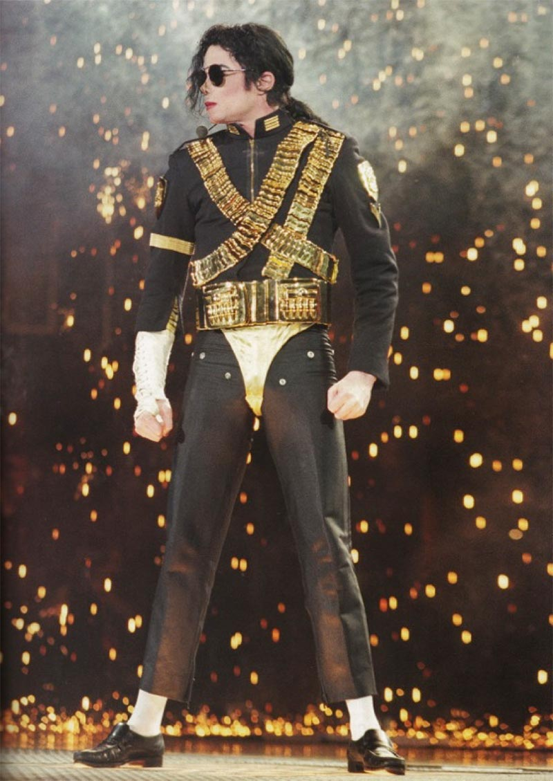 Michael Jackson on stage during the Dangerous Tour