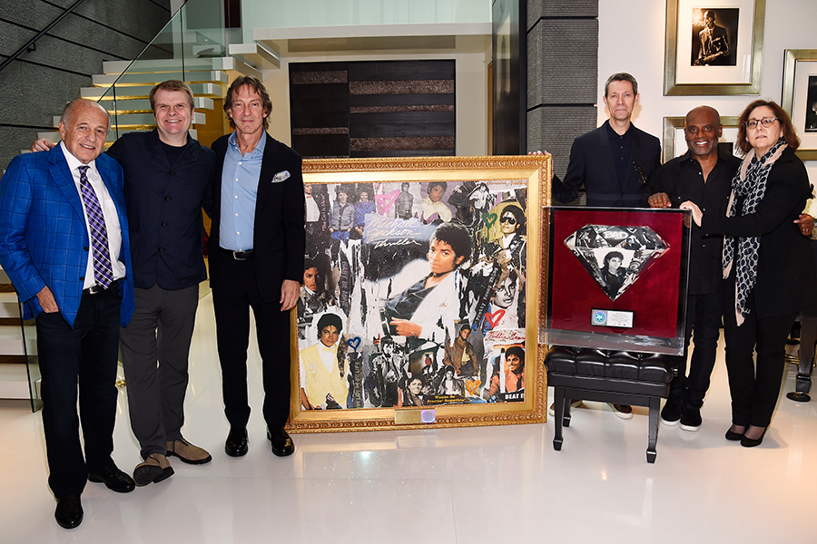 Executives from Sony Music Entertainment and the Estate of Michael Jacksons were in Los Angeles in a special plaque presentation honoring the most recent RIAA Gold & Platinum Program milestones achieved by Thriller and Bad.