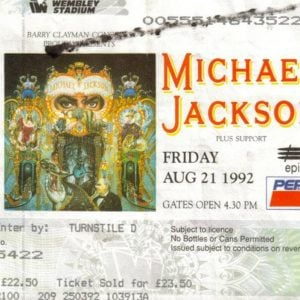 Michael Jackson Wembley Dangerous Tour ticket stub August 21, 1992