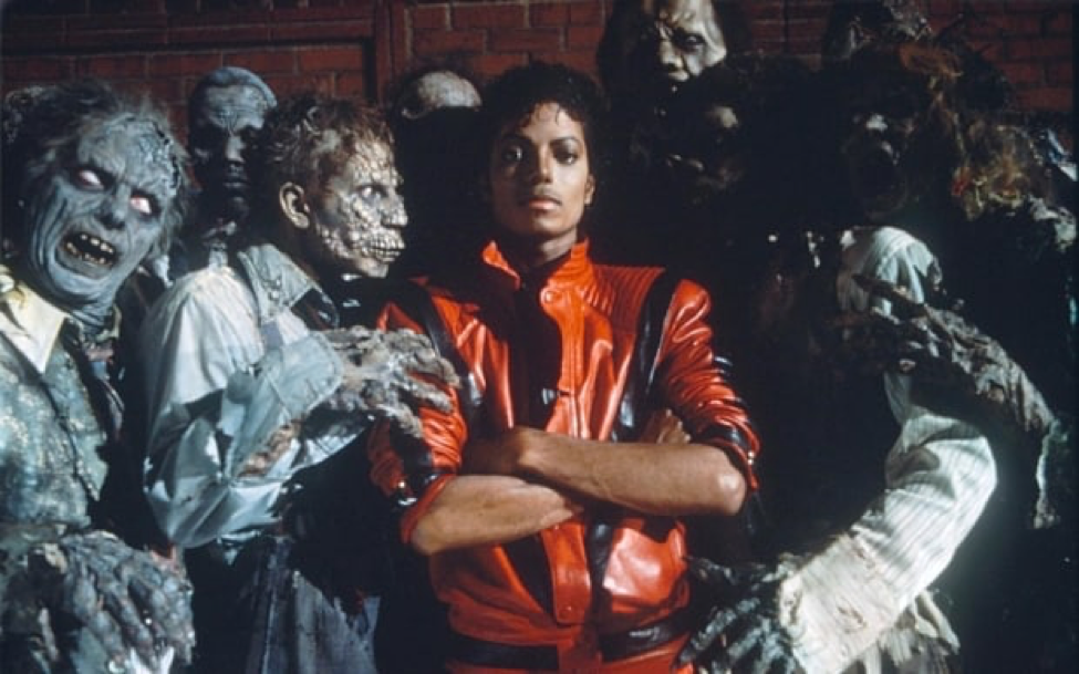 Michael Jackson with the Thriller zombies