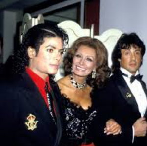 MJ with Sophia Loren and Sylvester Stallone