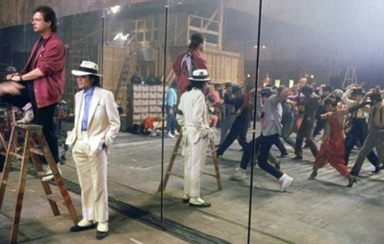 Michael Jackson, Vincent Paterson and dancers on set of Smooth Criminal short film