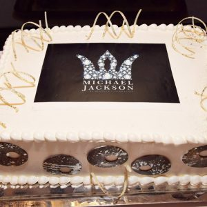 LAS VEGAS, NV - AUGUST 29: A cake is displayed during the Michael Jackson diamond birthday celebration at Michael Jackson ONE by Cirque du Soleil at the Mandalay Bay Resort and Casino on August 29, 2018 in Las Vegas, Nevada. (Photo by Lester Cohen/Getty Images for Sony Music and The Estate of Michael Jackson)