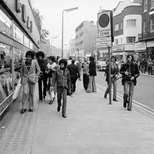 The Jacksons walk down King's Road at the beginning of their first European tour in the fall of 1972