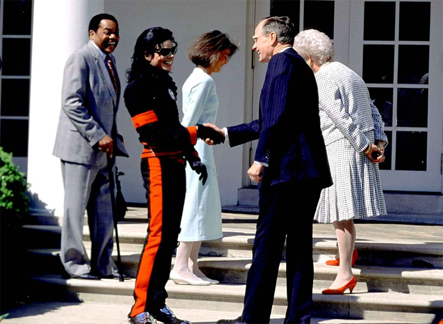 President George H.W Bush Honored Michael Jackson With The Artist Of The Decade Award In 1990
