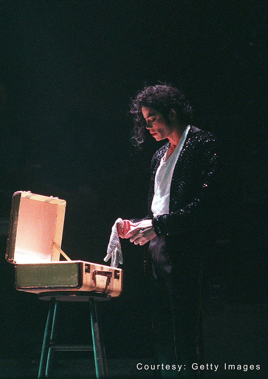 Michael Jackson performs on stage in 1997 in Germany