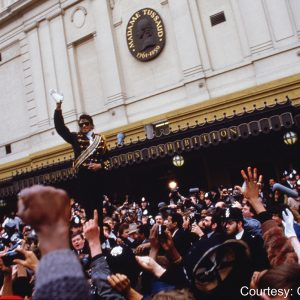 Michael Jackson waves to fans outside Madame Tussauds wax museum, London, on March 28, 1985
