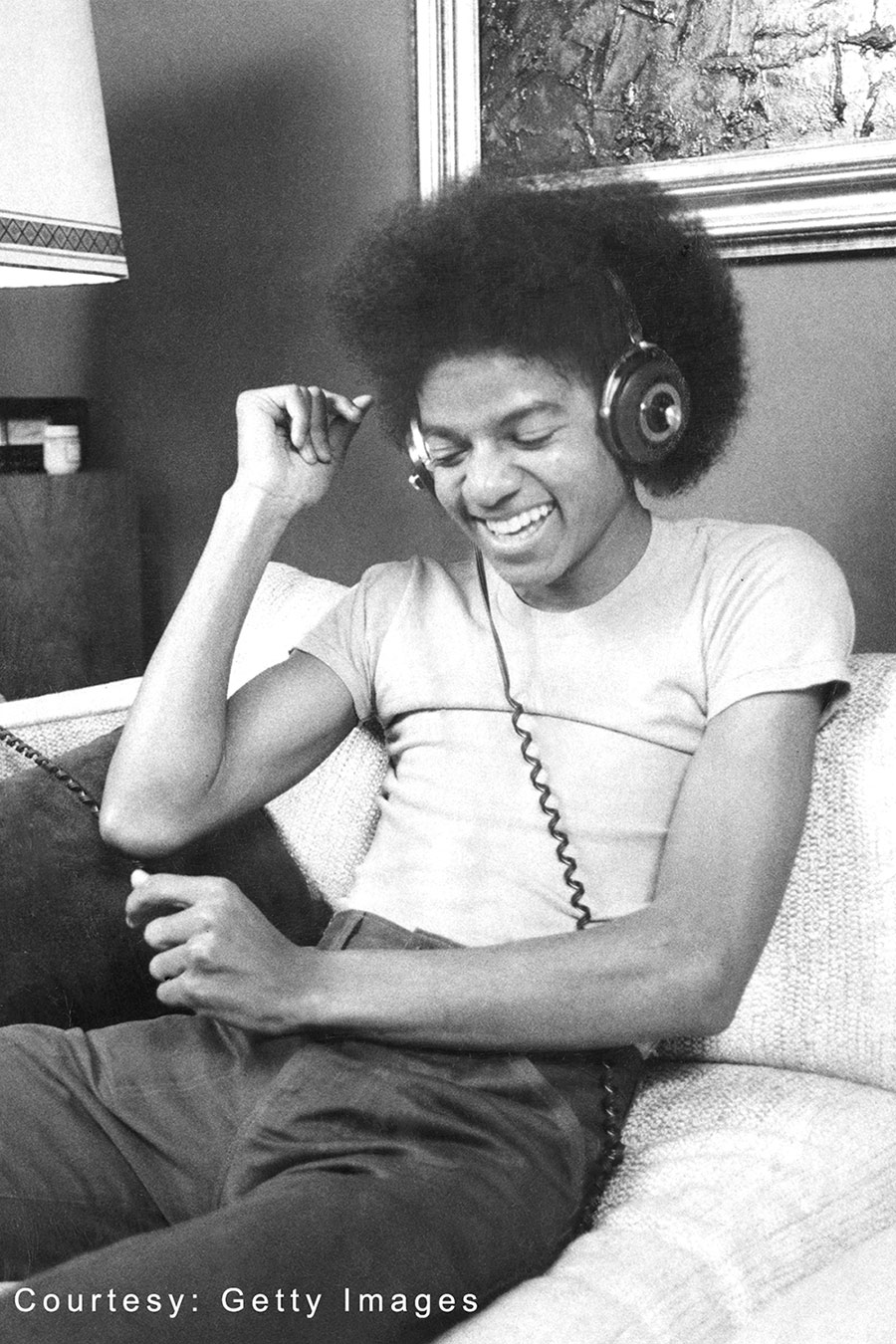 Michael Jackson listens to music on November 17, 1977